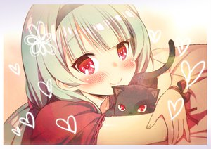 Rating: Safe Score: 135 Tags: animal bed blush cat headband original red_eyes zpolice User: opai