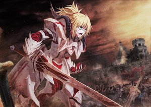 Rating: Safe Score: 68 Tags: armor blonde_hair blood boyogo braids building fate/grand_order fate_(series) gloves green_eyes mordred ponytail sky sword weapon User: Dreista