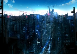 Rating: Safe Score: 21 Tags: airship anonamos building city clouds original scenic sky User: RyuZU
