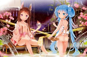 Rating: Questionable Score: 133 Tags: 2girls animal animal_ears anmi ass bird blue_eyes blue_hair blush breasts brown_hair cropped flowers japanese_clothes loli long_hair navel night no_bra nopan purple_eyes rose scan sky stars twintails water wet User: BattlequeenYume