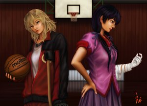 Rating: Safe Score: 33 Tags: 2girls ball basketball blonde_hair eeotoko hanamonogatari kanbaru_suruga monogatari_(series) numachi_rouka sport User: propeller03