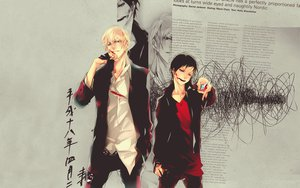 Rating: Safe Score: 18 Tags: black_hair blonde_hair blood brown_eyes durarara!! heiwajima_shizuo male orihara_izaya red_eyes weapon User: Tensa