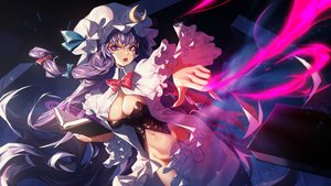 Rating: Questionable Score: 43 Tags: book bow breasts cleavage dress hat joker_(stjoker) long_hair mage magic navel nopan open_shirt patchouli_knowledge purple_eyes purple_hair touhou User: BattlequeenYume