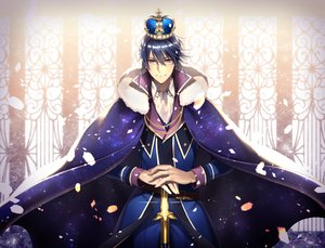 Rating: Safe Score: 3 Tags: all_male black_hair cape crown glasses k_(anime) male munakata_reishi petals purple_eyes short_hair suit sword tagme_(artist) weapon User: otaku_emmy