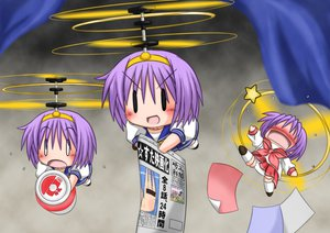 Rating: Safe Score: 19 Tags: chibi gaketsu gray hiiragi_tsukasa lucky_star paper robot school_uniform User: PAIIS