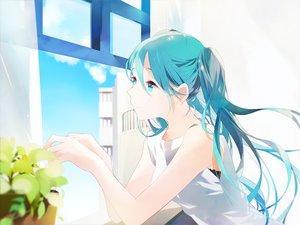 Rating: Safe Score: 39 Tags: aqua_eyes aqua_hair hatsune_miku kama_ri long_hair twintails vocaloid waifu2x User: luckyluna