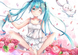 Rating: Safe Score: 107 Tags: aqua_eyes aqua_hair barefoot blush dress flowers hatsune_miku long_hair petals ribbons summer_dress tailam twintails vocaloid water wet wink User: RyuZU