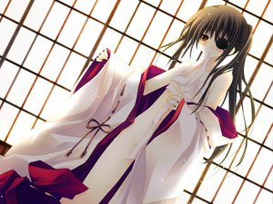 Rating: Questionable Score: 24 Tags: blush eyepatch gintama japanese_clothes nopan open_shirt ribbons sakurazawa_izumi sarashi tagme yagyuu_kyuubei User: 秀悟