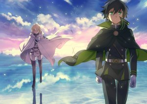 Rating: Safe Score: 53 Tags: all_male black_hair blonde_hair boots cape clouds fcc gloves green_eyes hyakuya_mikaela hyakuya_yuuichirou male owari_no_seraph reflection short_hair sky sword uniform weapon User: RyuZU