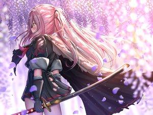 Rating: Safe Score: 57 Tags: ame_sagari blush cape elbow_gloves gloves katana long_hair orange_eyes original petals pink_hair ponytail school_uniform skirt sword weapon User: RyuZU