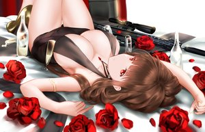 Rating: Questionable Score: 82 Tags: anthropomorphism brown_hair dress drink dsr-50 flowers girls_frontline gun higandgk long_hair necklace no_bra red_eyes rose weapon User: BattlequeenYume