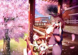 Rating: Safe Score: 84 Tags: animal_ears cherry_blossoms flowers foxgirl japanese_clothes jebura kimono original petals scenic spring tail tree User: opai
