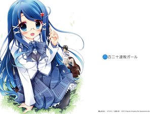Rating: Safe Score: 70 Tags: blue_eyes blue_hair glasses long_hair nanamomo_rio pantyhose seifuku tagme User: Wiresetc