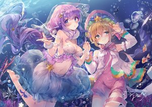 Rating: Safe Score: 66 Tags: aliasing barefoot blue_eyes breasts bubbles cleavage daefny green_eyes long_hair navel original pointed_ears purple_hair short_hair signed twintails underwater water watermark User: BattlequeenYume
