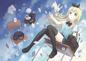 Rating: Safe Score: 97 Tags: 104 alice_in_wonderland alice_(wonderland) animal aqua_eyes blonde_hair book bow cat cheshire_cat clouds drink flowers hat headband long_hair original rabbit school_uniform skirt sky thighhighs white_rabbit User: RyuZU