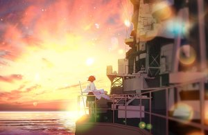 Rating: Safe Score: 51 Tags: hiei_(kancolle) kantai_collection landscape saki_(little_crown) scenic sunset thighhighs User: Wiresetc