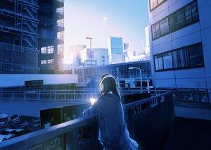 Rating: Safe Score: 31 Tags: blue building city headphones long_hair maeda_mic original phone scenic User: FormX