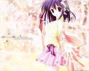 Rating: Questionable Score: 6 Tags: cherry_blossoms flowers nanao_naru purple_hair red_eyes skirt User: Oyashiro-sama