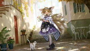 Rating: Safe Score: 44 Tags: animal animal_ears arknights braids brown_hair cat dress flowers foxgirl green_eyes headband logo loli multiple_tails short_hair sho_(sho_lwlw) stairs suzuran_(arknights) tail tree User: RyuZU