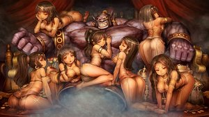 Rating: Questionable Score: 304 Tags: breasts brown_hair chain cleavage demon dragon's_crown group harem headdress long_hair necklace pointed_ears ponytail red_eyes see_through shigatake short_hair tiara User: SciFi