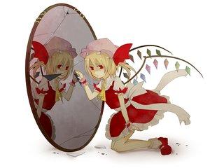 Rating: Safe Score: 33 Tags: blonde_hair flandre_scarlet mirror ponytail red_eyes reflection short_hair touhou vampire white wings User: gnarf1975