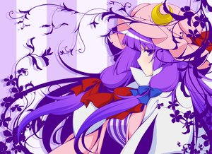 Rating: Safe Score: 33 Tags: bow eichi_yuu hat long_hair patchouli_knowledge purple_eyes purple_hair touhou User: RyuZU