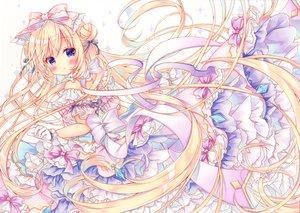 Rating: Safe Score: 88 Tags: blonde_hair blush bow dress gloves lolita_fashion long_hair original purple_eyes puu_(kari---ume) User: BattlequeenYume