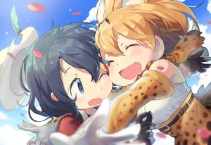 Rating: Safe Score: 50 Tags: 2girls animal_ears anthropomorphism catgirl close harusabin hat kaban kemono_friends petals serval User: RyuZU