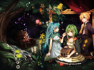 Rating: Safe Score: 100 Tags: blonde_hair blue_eyes blue_hair bow dress flowers green_eyes green_hair gumi hatsune_miku kagamine_len long_hair male night ribbons short_hair stars tama_(songe) tree vocaloid wink User: Maboroshi