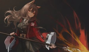 Rating: Safe Score: 54 Tags: animal_ears arknights brown_hair catgirl fire hara_shoutarou long_hair magic red_eyes skyfire_(arknights) spear weapon User: Dreista