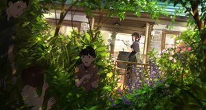 Rating: Safe Score: 38 Tags: black_hair book brown_hair building cape dress flowers glasses group leaves loli long_hair male original ponytail shade short_hair somehira_katsu tree witch wristwear User: otaku_emmy