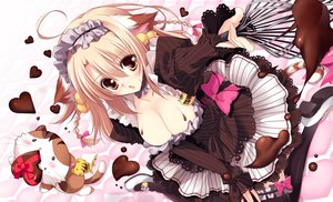Rating: Safe Score: 112 Tags: animal animal_ears blonde_hair braids breasts candy cat chocolate cleavage headdress maid original yoshiwo User: FormX