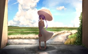 Rating: Safe Score: 48 Tags: breasts cleavage clouds cropped dress grass long_hair original purple_hair rakugakijunkie red_eyes scenic shade sky summer summer_dress twintails umbrella User: kyxor