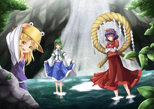 Rating: Safe Score: 29 Tags: animal blonde_hair frog green_eyes green_hair japanese_clothes kochiya_sanae long_hair miko moriya_suwako morokoshi_(tekku) purple_hair red_eyes rope short_hair touhou water waterfall yasaka_kanako yellow_eyes User: C4R10Z123GT