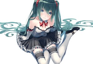 Rating: Safe Score: 94 Tags: bow dress elbow_gloves gloves green_eyes green_hair hatsune_miku long_hair thighhighs touboku twintails vocaloid white User: FormX