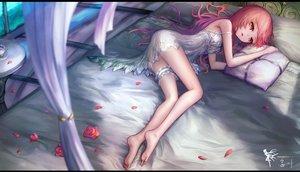 Rating: Safe Score: 201 Tags: barefoot bed dress flowers garter hat hc jpeg_artifacts long_hair original petals red_eyes red_hair rose summer_dress User: Flandre93
