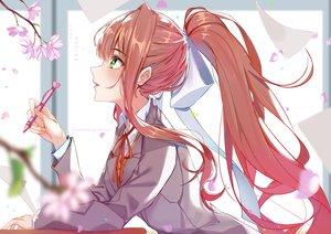 Rating: Safe Score: 67 Tags: bow brown_hair cherry_blossoms doki_doki_literature_club! flowers green_eyes long_hair monika_(ddlc) ponytail ribbons school_uniform watermark xhunzei User: BattlequeenYume