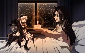 Rating: Safe Score: 83 Tags: 2girls bed blush braids brown_hair cake doll dress food gothic kakizaki_megu kasugai_hiroyuki lolita_fashion long_hair rozen_maiden signed snow suigintou vector watermark wings User: Oyashiro-sama