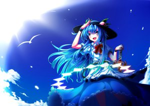 Rating: Safe Score: 47 Tags: animal bird blue_hair bow clouds dress hat hinanawi_tenshi leaves long_hair orange_eyes sky sword touhou ugume weapon User: STORM