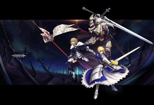 Rating: Safe Score: 99 Tags: armor artoria_pendragon_(all) blonde_hair blue_eyes dress fate/apocrypha fate_(series) fate/stay_night green_eyes jeanne_d'arc_(fate) long_hair male ribbons saber short_hair siegfried thighhighs todee white_hair User: Dragoonxxx