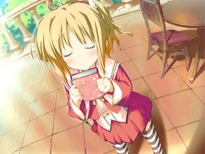 Rating: Safe Score: 6 Tags: blonde_hair blush book favorite game_cg happy_margaret! kokonoka minahase_karin school_uniform thighhighs User: 秀悟