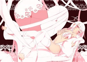 Rating: Questionable Score: 193 Tags: blush navel original pink_eyes ribbons sasami_(hallo) thighhighs white_hair User: FormX