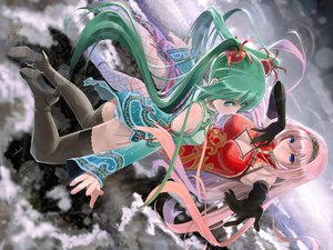 Rating: Safe Score: 127 Tags: 2girls aqua_eyes blue_eyes chinese_dress cleavage clouds elbow_gloves green_hair hatsune_miku long_hair megurine_luka okingjo panties pink_hair project_diva striped_panties thighhighs twintails underwear vocaloid world's_end_dancehall_(vocaloid) User: FormX