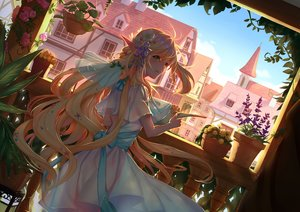Rating: Safe Score: 107 Tags: blonde_hair blush bow building city clouds dress flowers green_eyes long_hair original pixiv_fantasia pointed_ears rose sky tagme_(artist) User: BattlequeenYume