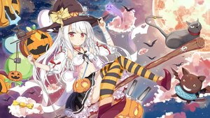 Rating: Safe Score: 47 Tags: animal azur_lane breasts candy cat clouds erebus_(azur_lane) food halloween hat long_hair moon navel pumpkin red_eyes ribbons staff tagme_(artist) thighhighs weapon white_hair witch_hat User: Dummy