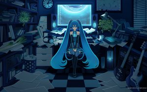 Rating: Safe Score: 78 Tags: book computer guitar hatsune_miku headphones inago instrument mikumix vocaloid zettai_ryouiki User: kn8485909