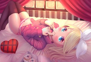 Rating: Questionable Score: 90 Tags: bed blonde_hair blue_eyes bow dkoro food headband heart kagamine_rin loli navel panties snow striped_panties thighhighs underwear valentine vocaloid User: mattiasc02