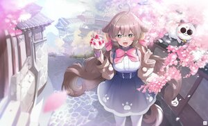 Rating: Safe Score: 43 Tags: 160mp animal animal_ears blush bow brown_hair building cat cat_smile cherry_blossoms doggirl fang flowers food fruit green_eyes ice_cream long_hair pantyhose strawberry tail User: BattlequeenYume