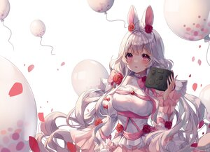 Rating: Safe Score: 60 Tags: albinoraccoon animal_ears blush bow bunny_ears bunnygirl dress game_console gray_hair long_hair original pink_eyes User: BattlequeenYume