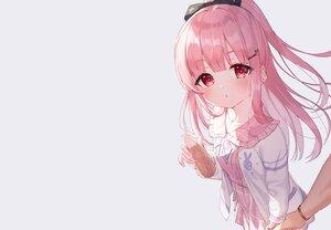 Rating: Safe Score: 62 Tags: blush bow candy drink gray long_hair original pink_hair ponytail red_eyes skirt third-party_edit tsukiman wristwear User: otaku_emmy